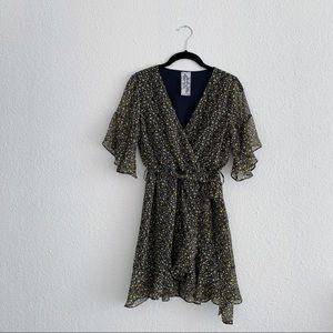 sadie & sage ditsy floral faux wrap mini dress